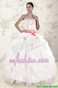 In Stock White Quinceanera Dresses with Pink Appliques and Ruffles