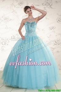 New Style Beading 2015 Quinceanera Dress in Baby Blue