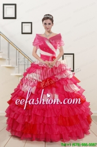 New Style Beading Quinceanera Dresses with One Shoulder for 2015