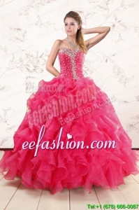 New Style Beading and Ruffles Sweet 15 Dresses in Hot Pink