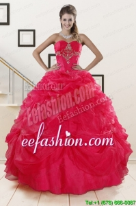 New Style Red Sweetheart Quinceanera Dresses with Appliques