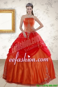New Style Strapless Appliques Sweet 16 Dresses in Orange Red
