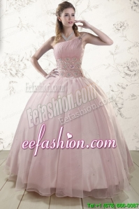 One Shoulder Beading Light Pink In Stock Quinceanera Dresses