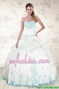 Popular Appliques 2015 Quinceanera Dresses in White
