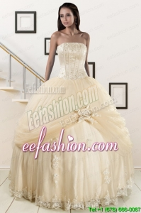 Popular Appliques and Hand Made Flower Champagne Quince Dresses