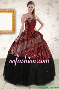 Popular Ball Gown Embroidery 2015 Quinceanera Dresses in Rust Red and Black
