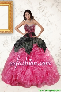 Popular Multi Color Ball Gown Ruffled Quinceanera Dresses