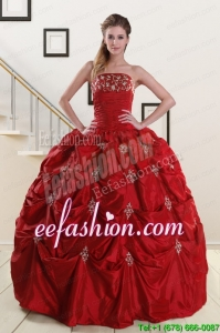 Popular Strapless Wine Red Appliques Quinceanera Dresses for 2015