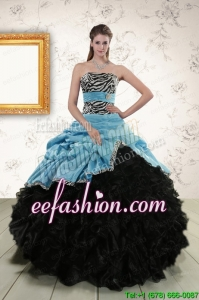 Pretty Ruffles 2015 Quinceanera Dresses with Zebra and Belt