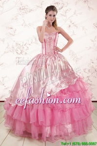 Pretty Sweetheart Pink Quinceanera Dresses with Embroidery