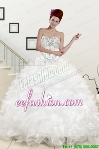 Pretty Sweetheart Sweep Train Beading and Ruffles Quinceanera Dress for 2015