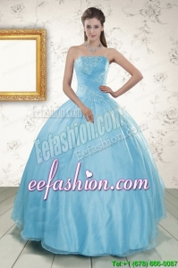 Strapless Beading 2015 In Stock Quinceanera Dress in Baby Blue