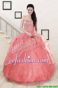Watermelon Sweetheart Beading Appliques Ball Gown In Stock Quinceanera Dresses