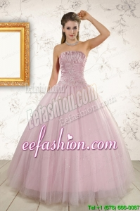 2015 Light Pink Strapless Pretty Quinceanera Dresses with Appliques