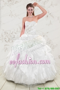 Pretty Beading and Ruffles 2015 Quinceanera Dresses in White