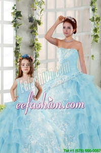 2015 Elegant Appliques and Ruffles Princesita Dress in Baby Blue