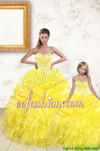 Sweetheart Beading and Ruffles 2015 Brand New Yellow Princesita Dress