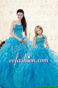 Romantic Blue Ball Gown Sequins and Ruffles Princesita Dress