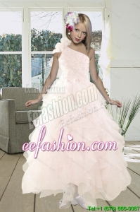 2015 Gorgeous A Line One Shoulder Baby Pink Little Girl Pageant Dress with Beading and Ruffles