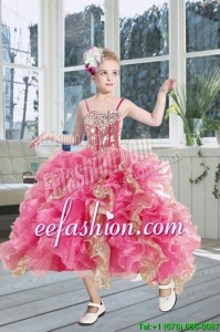 2015 Gorgeous Beading and Ruffles Flower Girl Dress in Pink and Gold