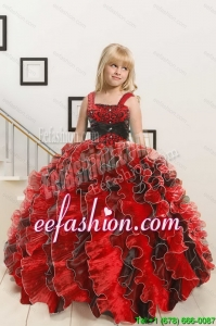 2015 New Arrival Appliques and Ruffles Multi-color Flower Girl Dress