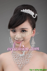 Dignified Jewelry Set Including Necklace Crown And Earrings In Phoenix Shape
