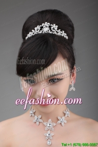 Rhinestone Jewelry Set Including Necklace Crown And Earrings With Intensive Flower