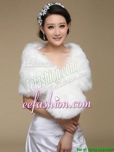 2015 Brand Pearl Front Closure Faux Fur White Wraps