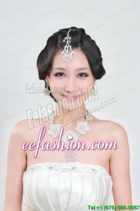 Alloy With Elegant Rhinestone Wedding Jewelry Set Including Necklace And Earrings