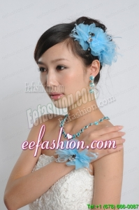 Auqa Blue Rhinestones Alloy Jewelry Sets Including Earing and Necklace
