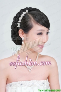 Beautiful Alloy With Peals Wedding Jewelry Set Including Necklace Earrings And Headpiece