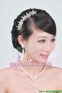 Gorgeous Alloy With Rhinestone Pearls Jewelry Set Including Necklace Earrings and Tiara