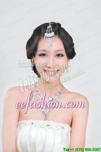 Gorgeous Rhinestone Wedding Jewelry Set Including Necklace And Headpiece
