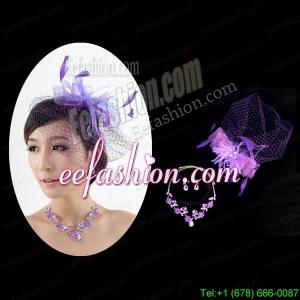 Graceful Purple Rhinestone Necklace And Earrings Wedding Jewelry Set