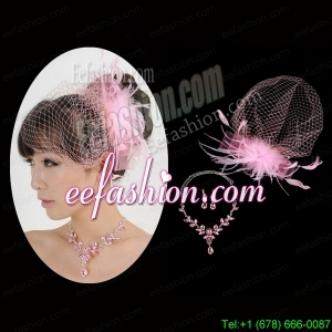 Pink Luxurious Rhinestone Ladies Jewelry Set Including Necklace And Headpiece