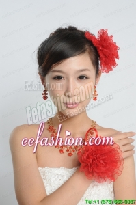 Red and Gold Jewelry Sets Including Necklace and Earings