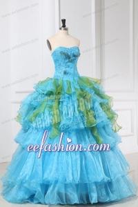 Appliques and Ruffles Organza Aqua Blue Long Quinceanera Dress