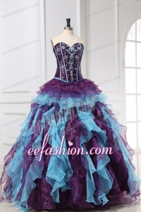 Beading and Appliques Multi-color Quinceanera Dress with Ruffles
