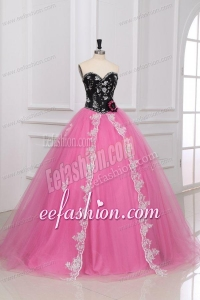 Beading and Appliques Sweetheart Tulle Quinceanera Dress in Black and Rose Pink