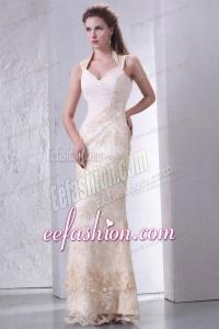 Beautiful Halter Top Column Lace Wedding Dress Floor-length