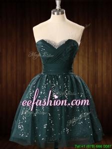Cheap Beaded Top Dark Green Short Prom Dress in Organza