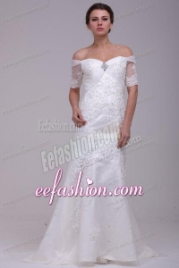 Column Off The Shoulder Brush Train Taffeta Wedding Dress