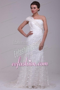 Column One Shoulder Lace Floor-length Paillette Wedding Dress with Side Zipper