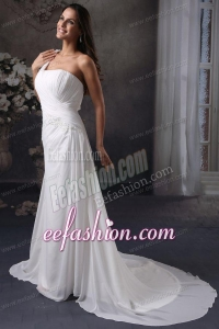 Column One Shoulder Ruching Court Train Chiffon Wedding Dress