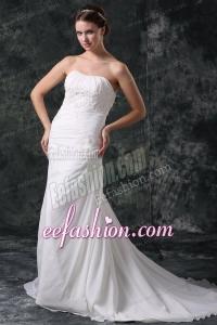Column Strapless Beading Chiffon Court Train Lace Up Wedding Dress