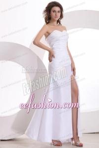 Column Sweetheart Beading and High Silt Floor-length Wedding Dress