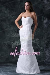 Column Sweetheart Floor-length Lace White Wedding Dress