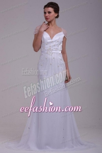 Column V-Neck Beading Brush Train Chiffon Wedding Dress