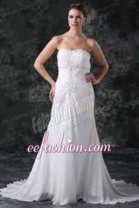 Elegant Column Sweetheart Lace Up Chiffon Wedding Dress with Beading