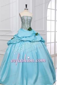 Light Blue Strapless Sequins and Taffeta Flowers Quinceanera Dress